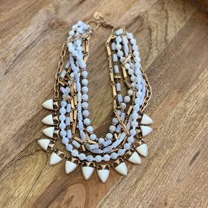 Stella and Dot 2 in 1 Gold white Gray Necklace